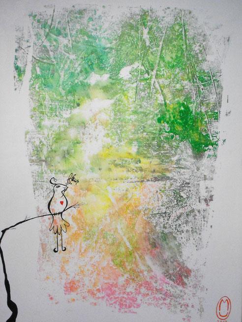 """""""Paradis perdu""""-acrylique sur toile-60*80-2017-700€-location/mois:14€"""