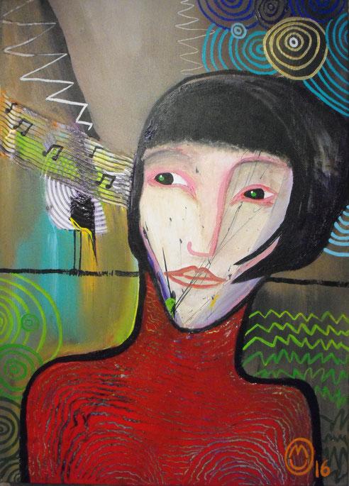 """""""Le chant""""-acrylique sur toile-50*70-2016-400€-location/mois:10€"""