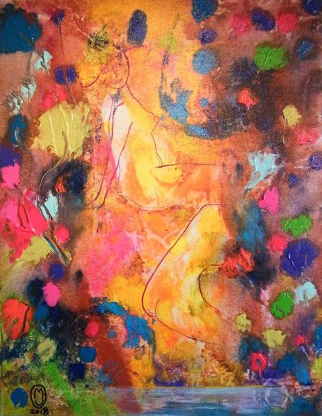 """""""Les baigneuses""""-acrylique sur toile-65*50-2018-300€-location/mois:10€"""