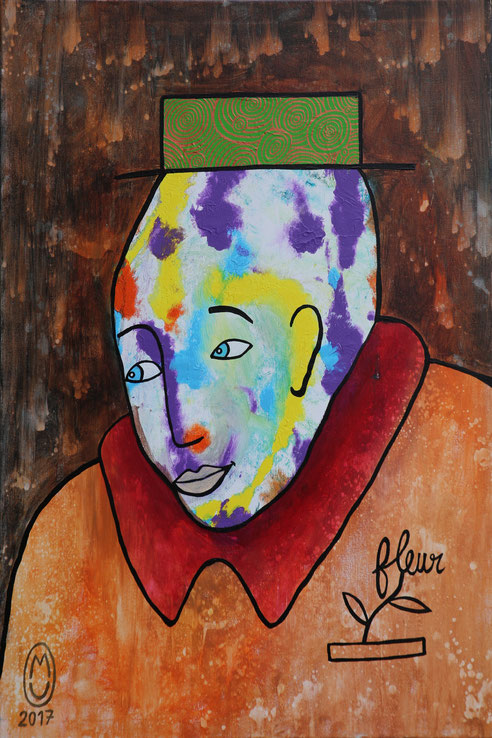 """""""In the street""""-acrylique sur toile-60*80-2017-470€-location/mois:10€"""