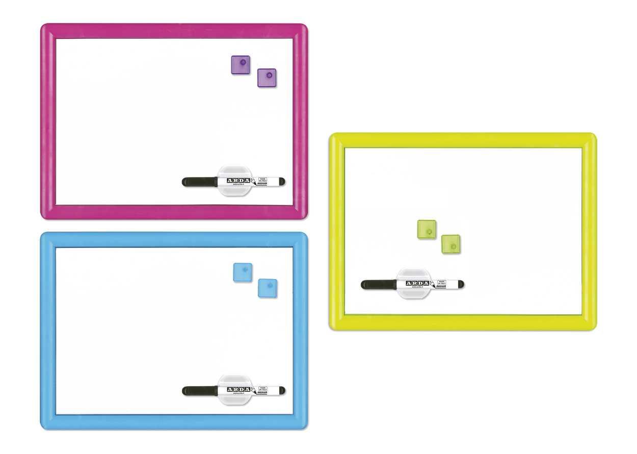con supporto porta-pennarelli e bordi in alluminio Basics Lavagna bianca cancellabile a secco 45 x 30 cm