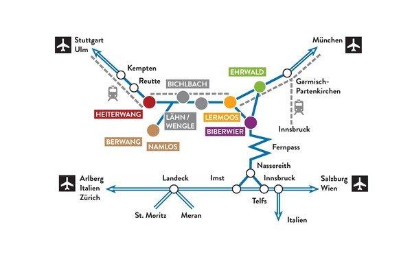A7 Ulm-Füssen (D), Reutte (A), richting Fernpaß, afslag Bichbach-Berwanger Tal- Berwang- Rinnen