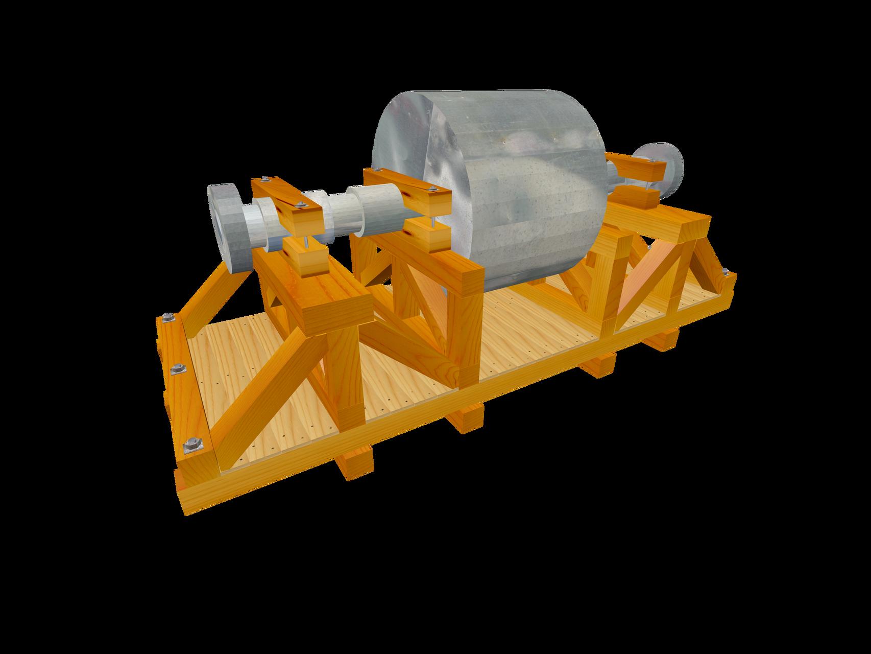 Verpackungskonstruktion auf Schwergutkistenboden B2 / B3