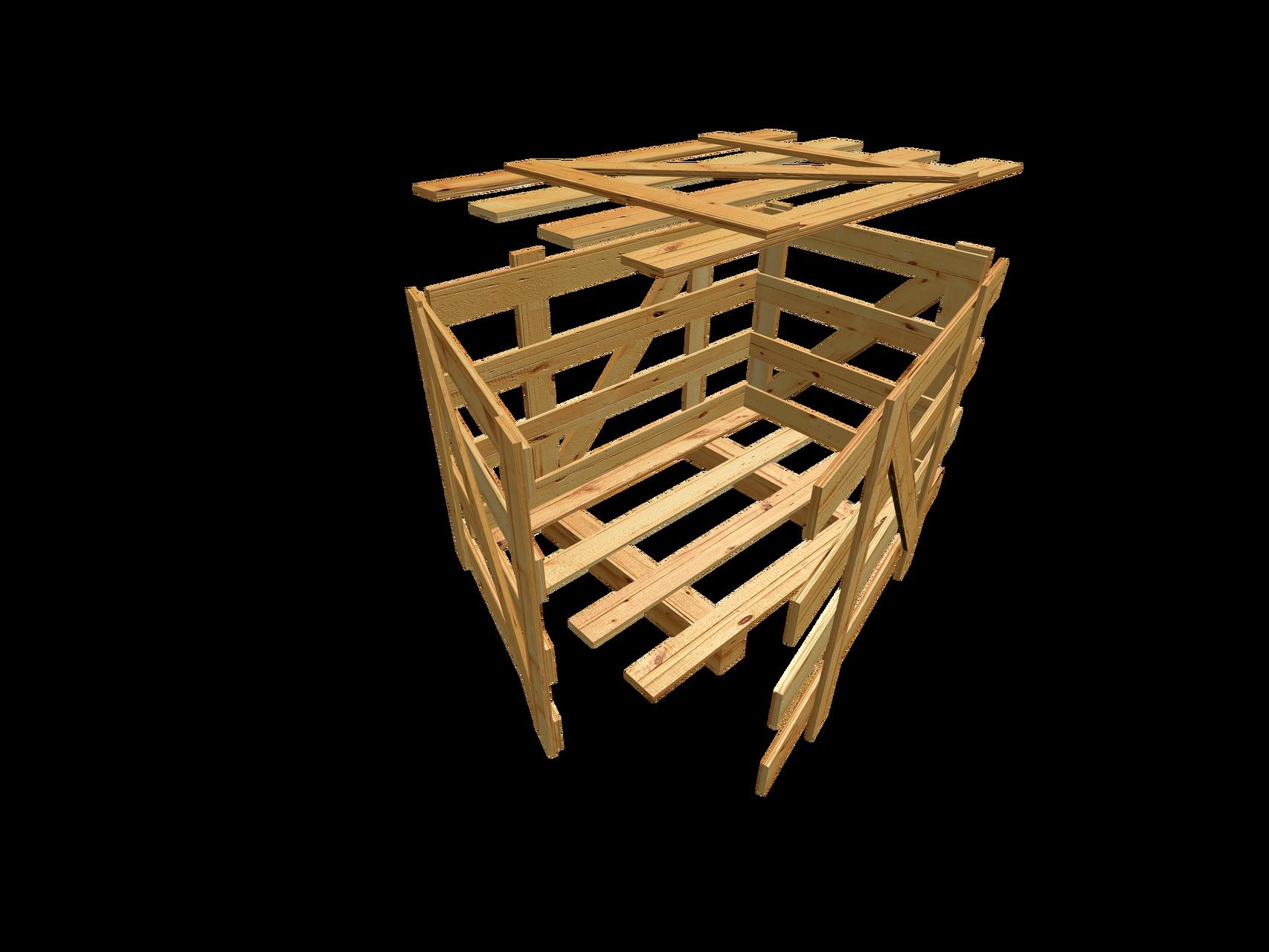 A6 Kopfkranzkiste m. Kopf-, Seiten, Deckelbeleistung u. Diagonalstreben als Verschlag
