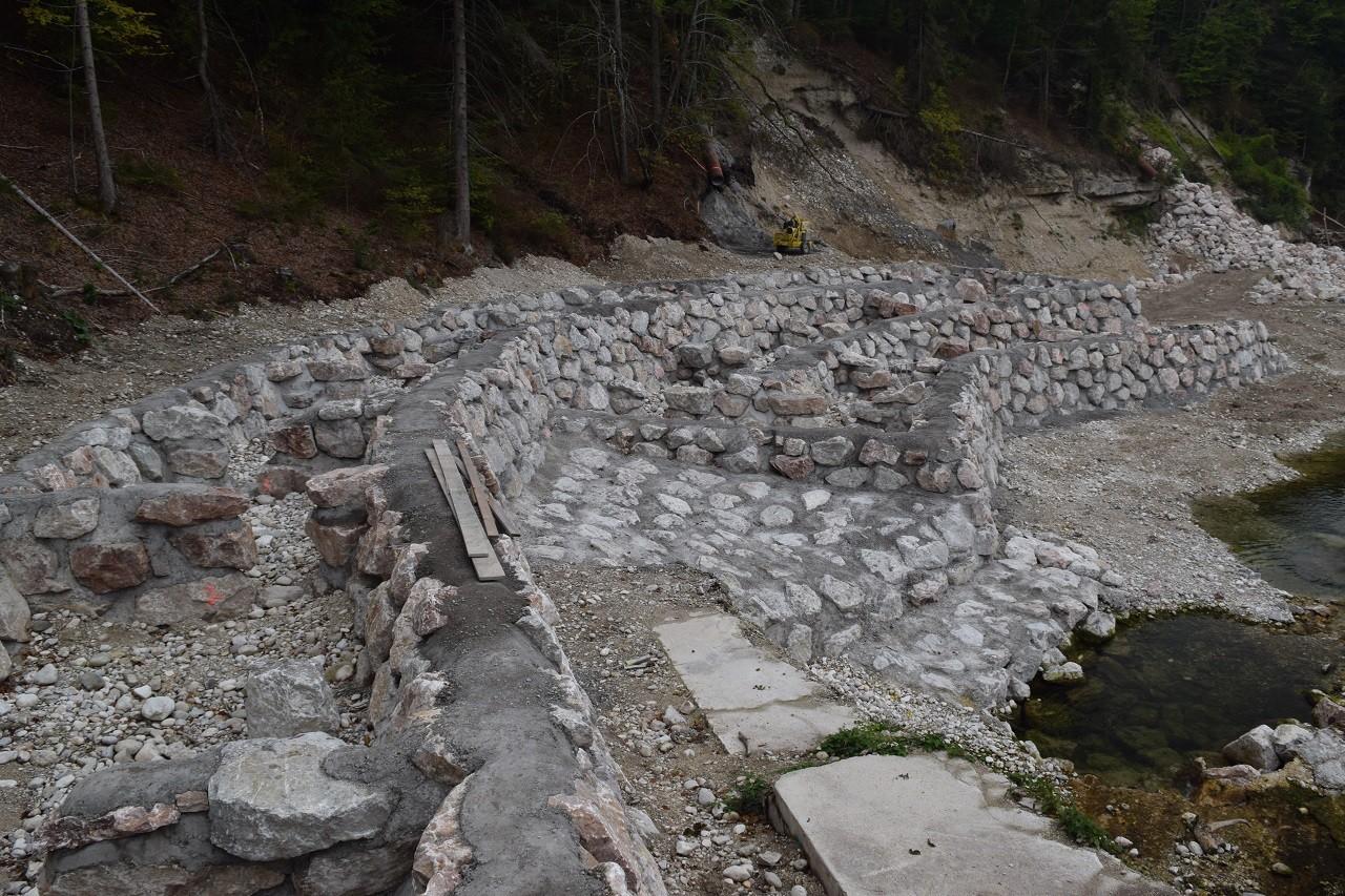 2015 neu gebaute Fischtreppe - einstweilen schon in Betrieb