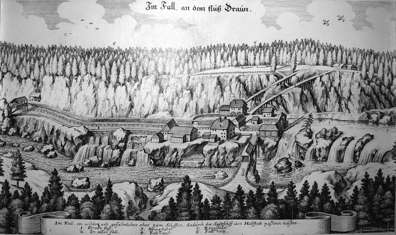 Zeichnung vom Traunfall gebaut 1552 von Thomas Seeauer - Schiffahrtsmuseum Grein