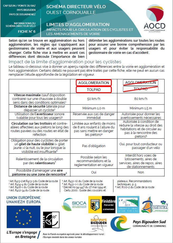 Fiche n° 6 - Limites d'agglomération, impacts pour la circulation des cyclistes et les aménagements de voirie