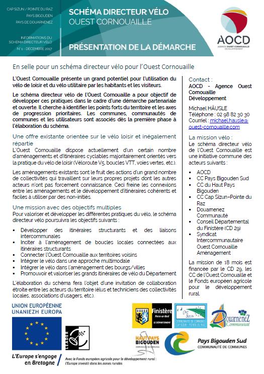Fiche n°1 - Présentation schéma directeur vélo Ouest Cornouaille