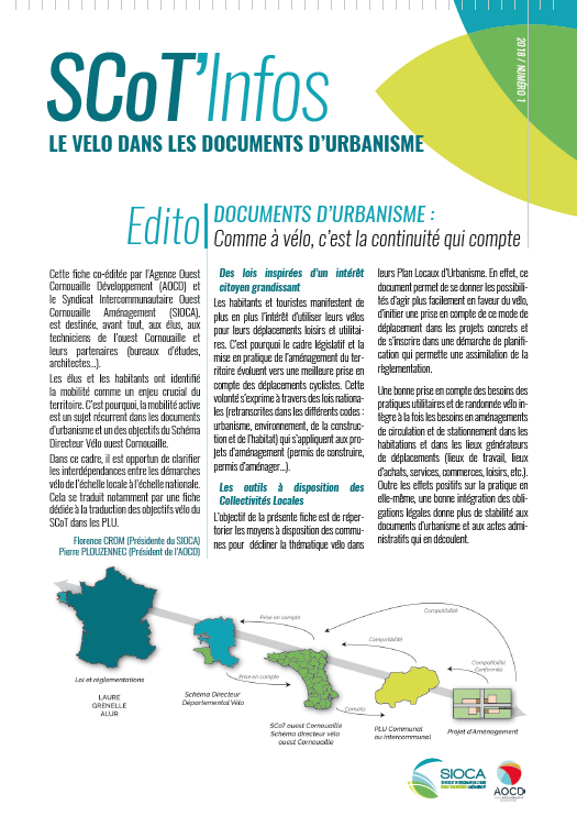 SCoT'Infos - Du SCoT au PLU : Le vélo dans les documents d'urbanisme