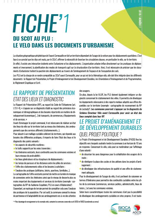 SCoT'Infos - Fiche pratique - Du SCoT au PLU : Le vélo dans les documents d'urbanisme