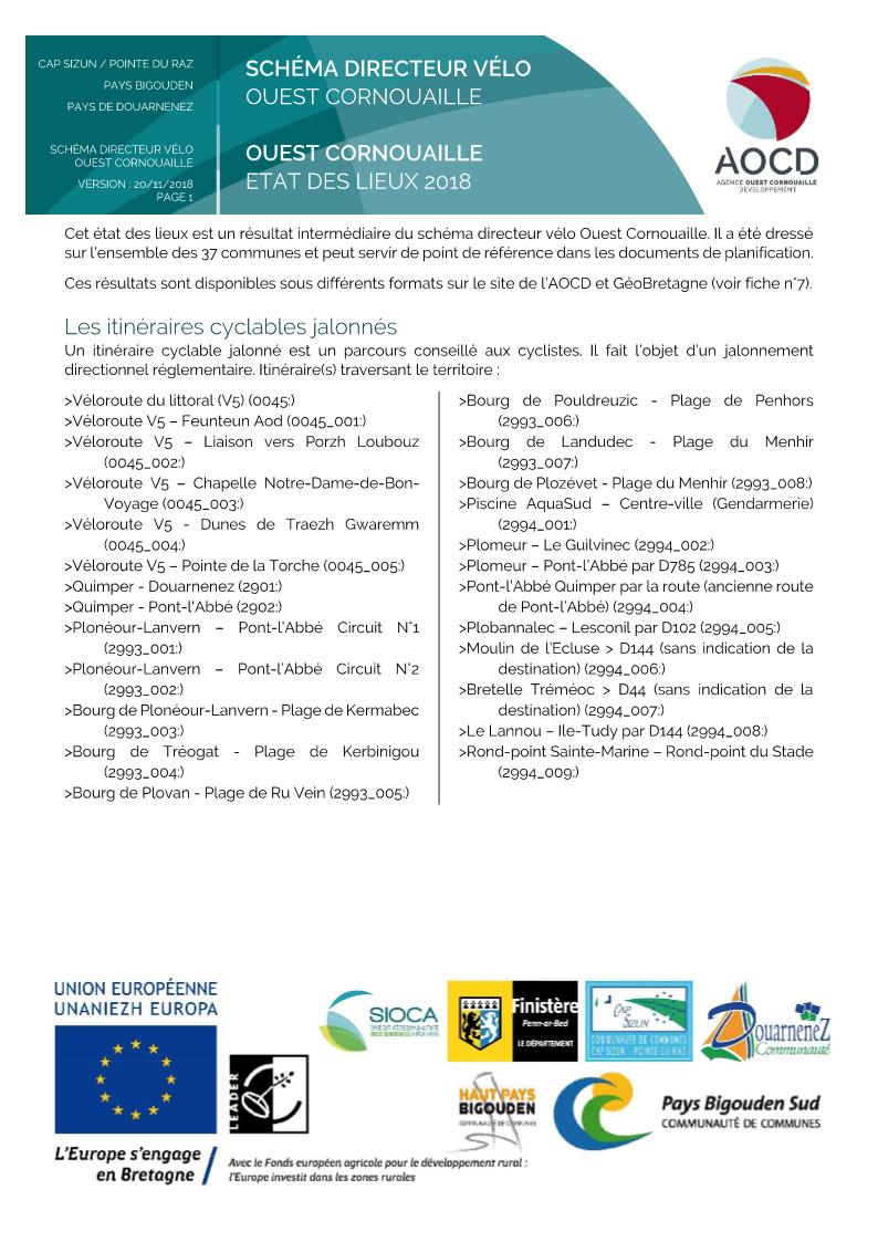 Statistiques de l'état des lieux par commune, communauté de commune et l'Ouest Cornouaille
