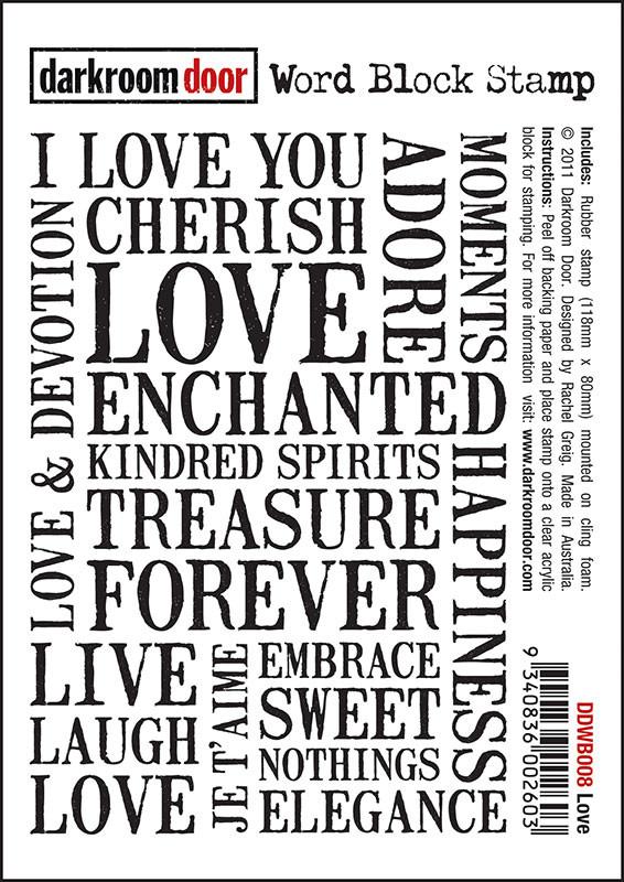 Darkroom Door Cling Foam Mounted Word Block Stamp: Love