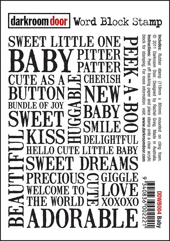 Darkroom Door Unmounted Word Block Stamp: Baby