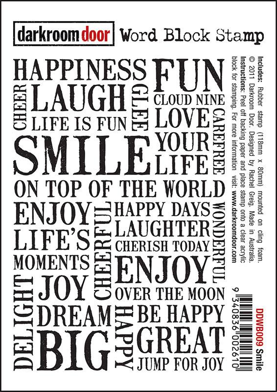 High Quality Darkroom Door Cling Foam Mounted Word Block Stamp: Smile
