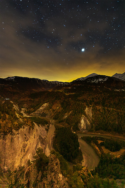 Sternenhimmel von Conn aus. Hoch über der Rheinschlucht