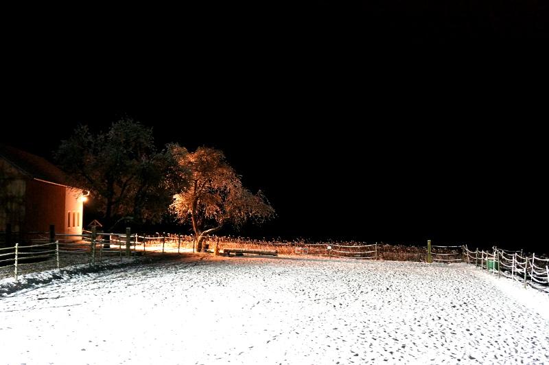 Reitplatz nach Sonnenuntergang im Winter