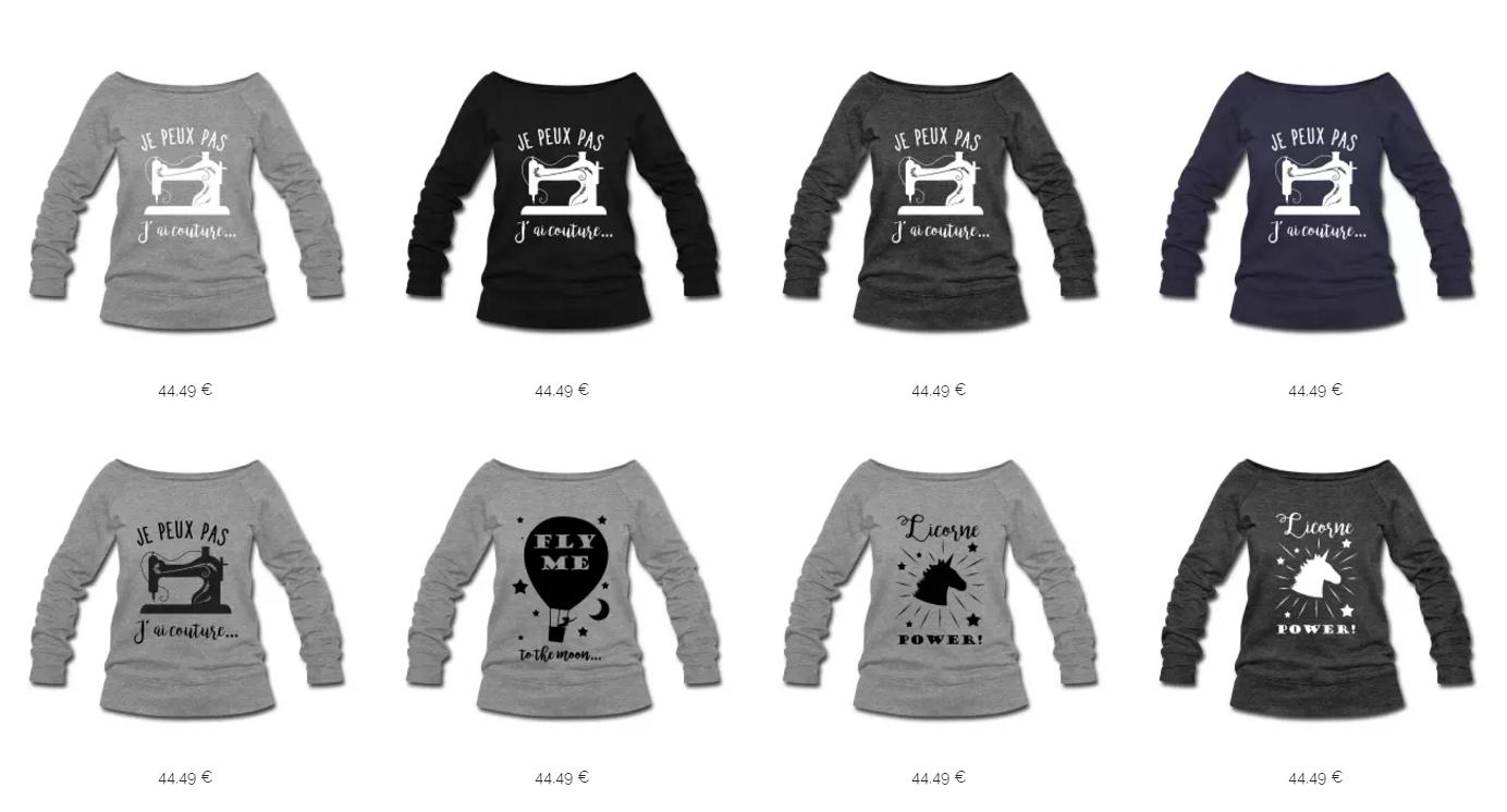 Nos graphismes imprimés sur Sweat-shirts