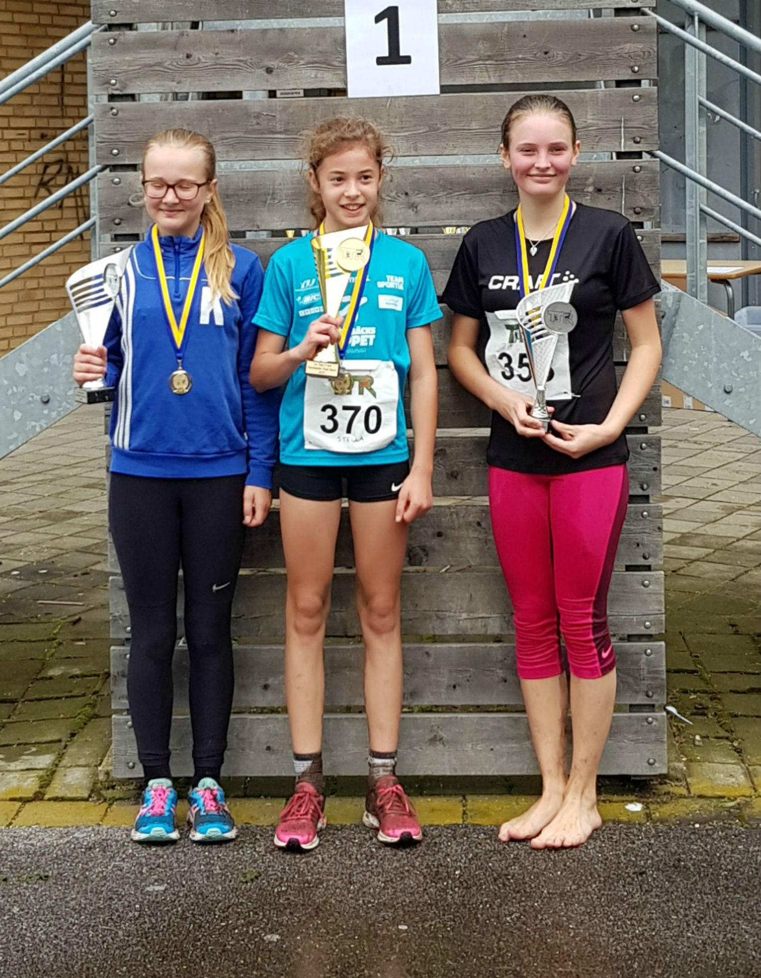 5km Flickor: 1:a Stella Buer Levy, 2:a Felicia Brink, 3:a Alyssa Englund