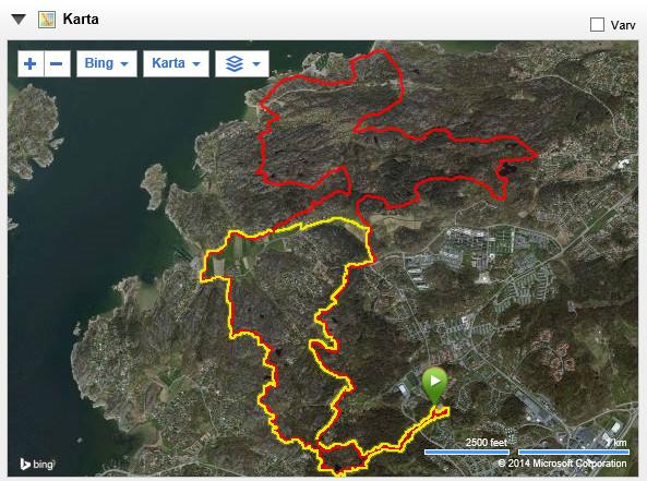 12km Gul / 21,5km - Röd. I terrängen gäller gröna markeringar för alla TTR banorna.
