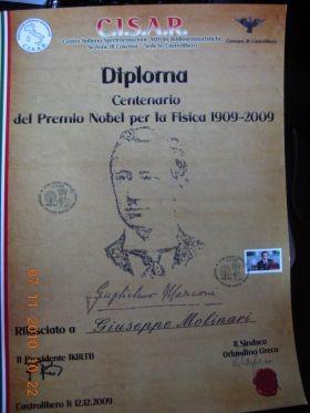 Diploma Marconi con annullo filatelico ( Unico nel suo genere)
