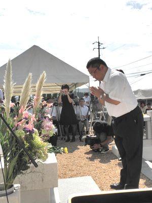 代表献花 遺族代表 (下松市役所福祉支援課 様)