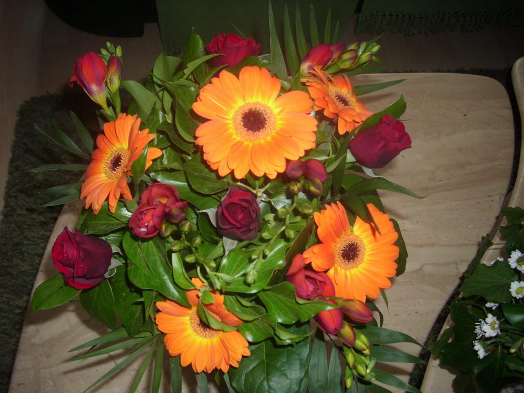 Runder Strauss mit orangen Gerberas,rote Rosen, rote Fresien ,Efeu und Grün