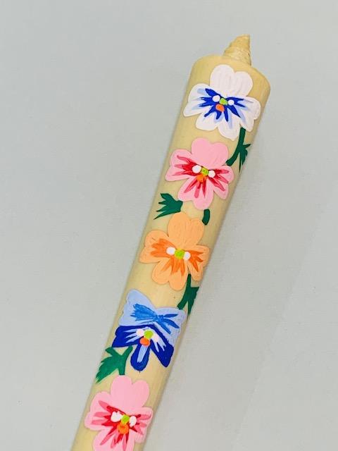 最高級手描き絵ろうそく季節の花パンジーの紹介