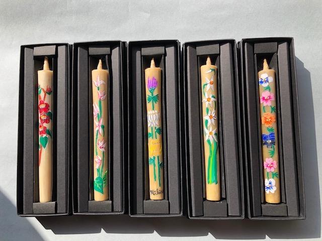 商品紹介 季節の花シリーズ 手描き絵ろうそく