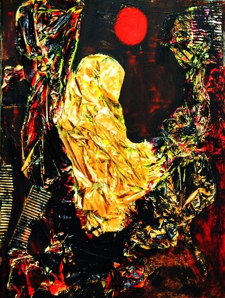 maria auf dem weg nach bethlehem (Acryl und Materialmix auf Leinwand, 60x80cm)