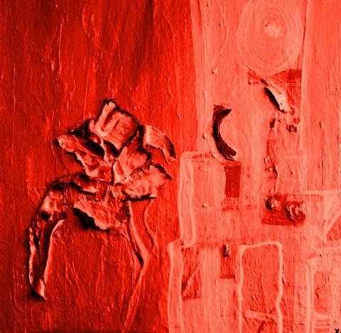 sonnenrot (70 x 100cm, Acryl und Mischtechnik auf Holz)