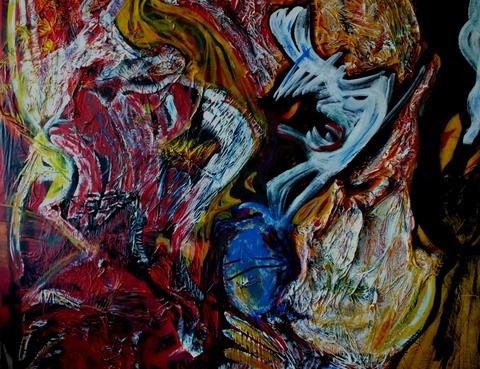 lebensschluchten, Acryl und Materialmix auf Leinwand, März 2012, 200 x 200