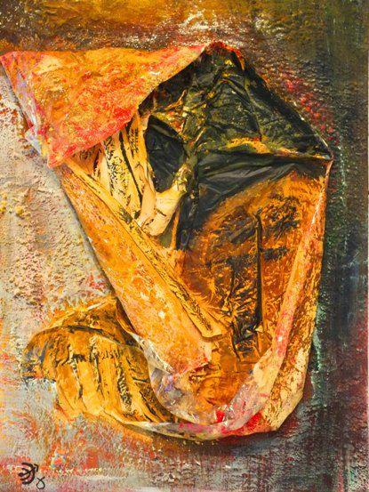 tote tanzen länger, Acryl und Materialmix auf Leinwand, April 2012, 50 x 70 cm (€ 520,00)