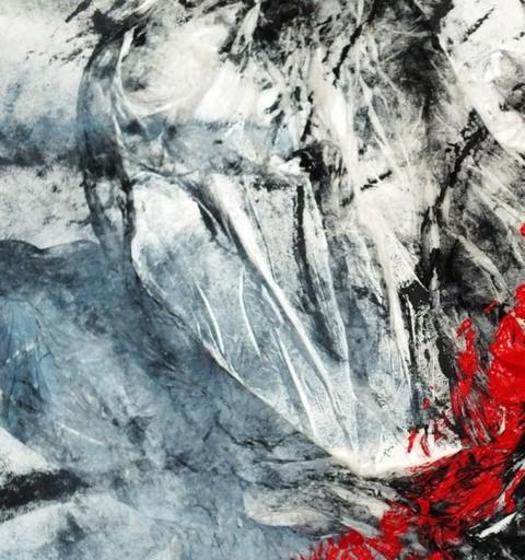 schrei leise ... der himmel könnte weinen, Acryl und Materialmix auf Leinwand, nur noch als Poster (Größe variabel)