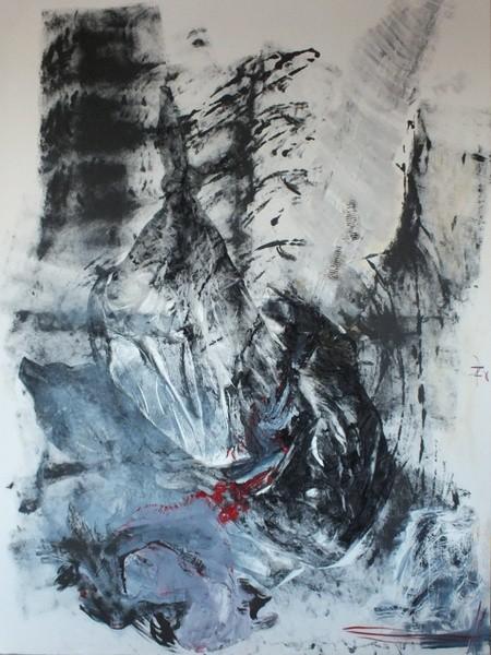 weine doch bitte ... du schöne schluchtenwelt.... die götter tragen trauer, Acryl und Materialmix auf Leinwand, 150 x 200 cm (€ 2.700,00)