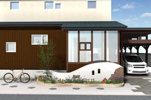 ブラックの色味に木目調の扉が特徴的な新築外構のご要望です。
