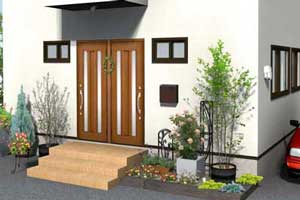 広々としたお庭を汎用材で区切った、暮らしやすく洗練された外構のご要望です。
