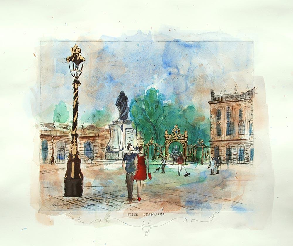 Estampe et aquarelle de la¨place Stanislas