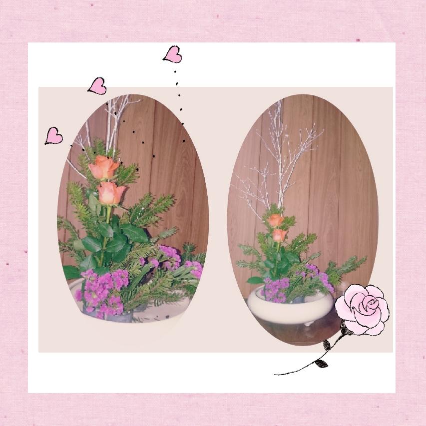 2021 お正月に玄関に飾った生け花❗