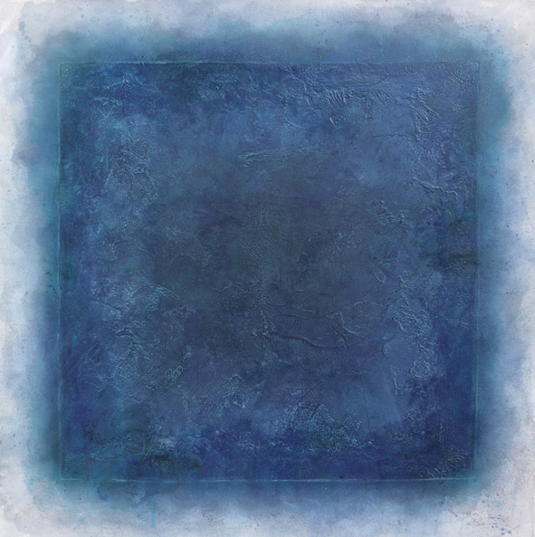abstraktes Bild · Blau · Quadrat · Türkis · Grau ·  Schellack · Patrick Öxler · Wiede Fabrik · Atelier