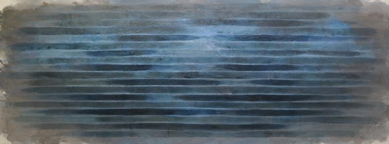 abstraktes Bild · Blau · Quer · Grau · Türkis · Schellack · Patrick Öxler · Wiede Fabrik · Atelier
