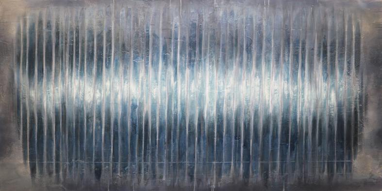 abstraktes Bild · Blau · Quer · Grau · Striche · Schellack · Patrick Öxler · Wiede Fabrik · Atelier