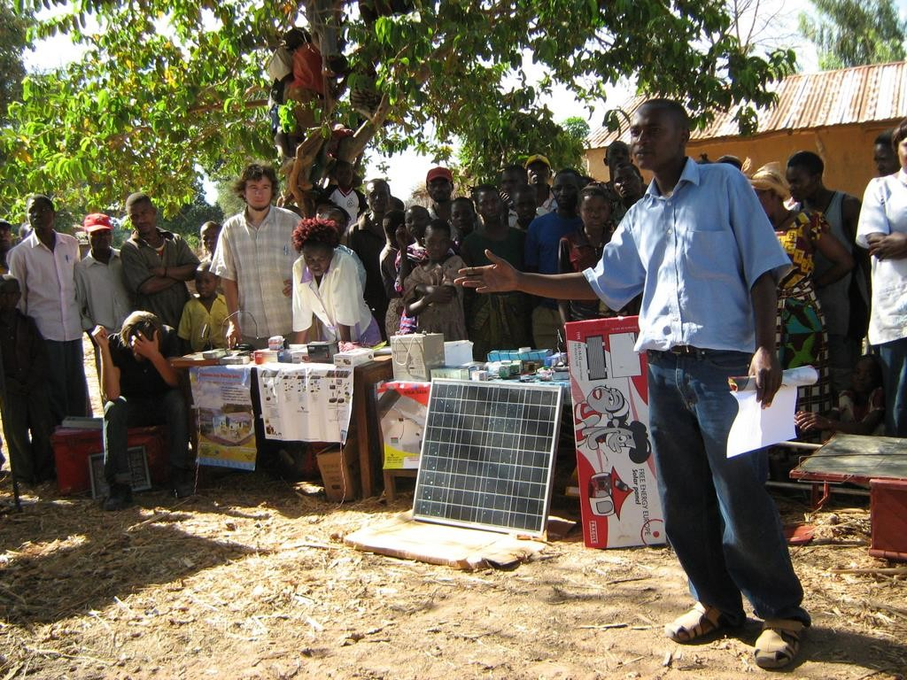 Village presentations creating awareness for renewable energies in Tanzania