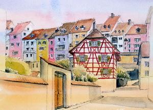 """""""Bremgarten Unterstadt"""" Aquarell"""