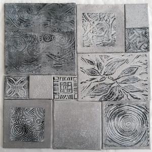 """Magnetbild grau silber"" mit verschiebbaren Tafeln Acryl, Linoldruck"