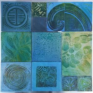 """""""Magnetbild blau"""", mit verschiebbaren Tafeln Acryl, Linoldruck"""