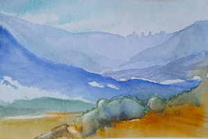 """Fantasielandschaft"" Aquarell"
