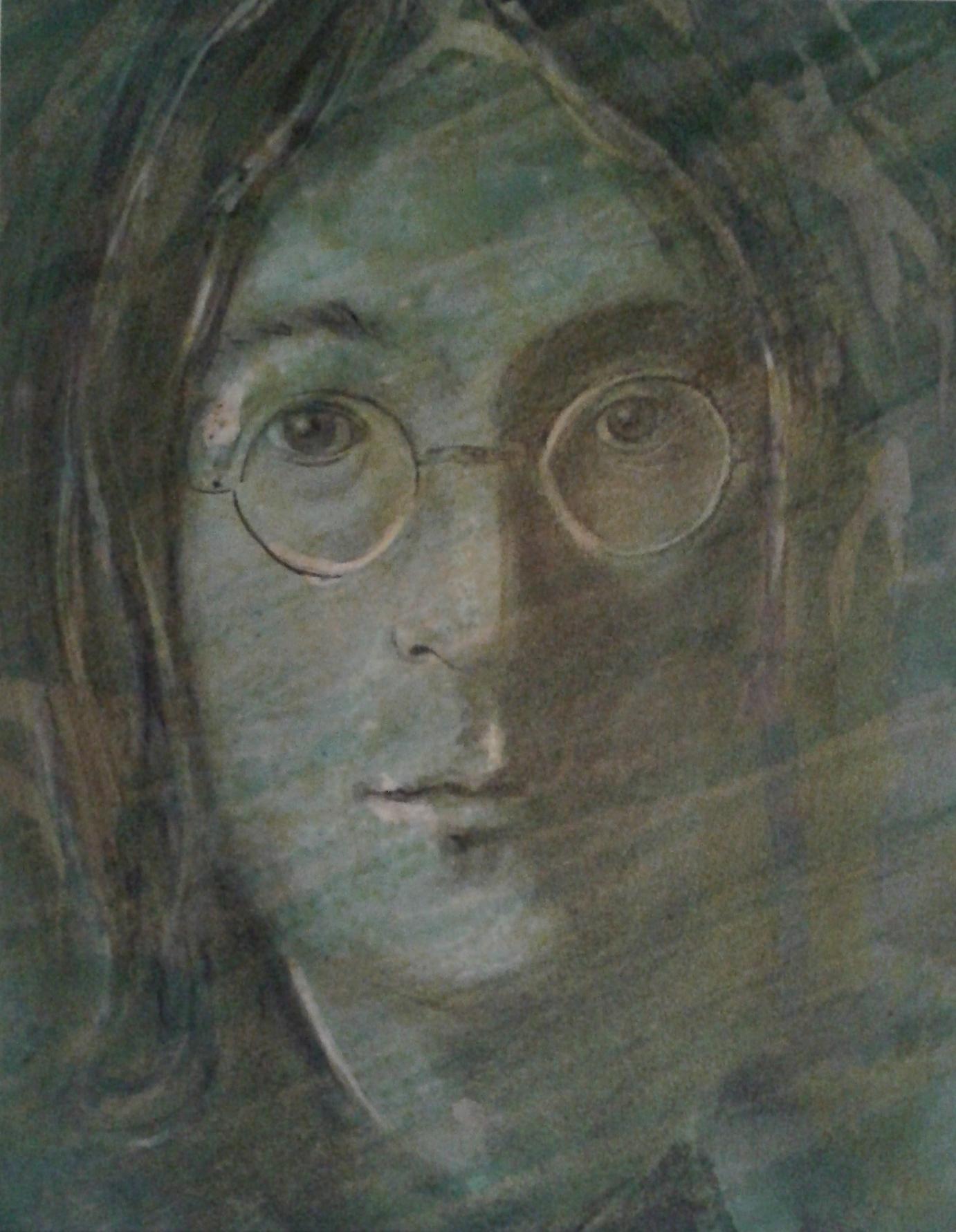 ART HFrei - J. Lennon - Aquarell-Pastell-Mischtechnik