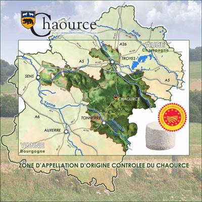 Zone de l'AOP Chaource (Source : http://www.fromagerie-lincet.net/content/aop)