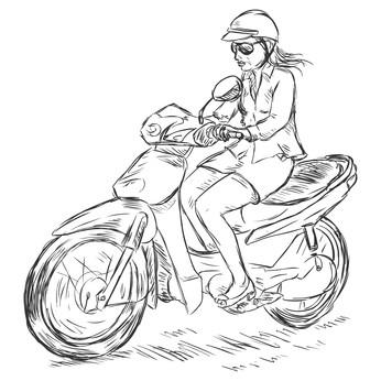 Mopedfahrerin