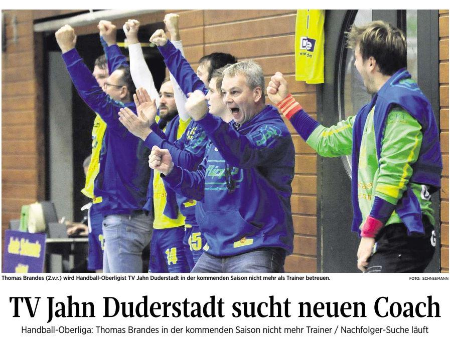 Thomas Brandes (2 v.r.) verlässt den TV Jahn Duderstadt zum Saisonende (Eichsfelder Tageblatt)